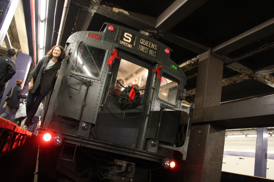 12/3/17- Drumming on Vintage Train Ride for Sunnyside SocialClub!